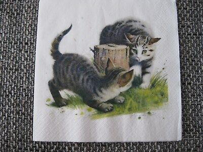 1 Serviette / napkin spielende Katzen 2-lagig playing cats 2-ply