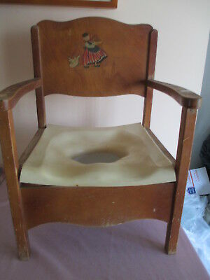 VTG ANTIQUE WOODEN CHILD POTTY CHAIR with ENAMEL POT, GIRL & GOOSE DECAL, CUTE!