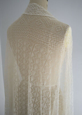 Large antique/vintage knitted lace square shawl