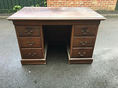 Antique Solid Wood Pedestal Writing Desk