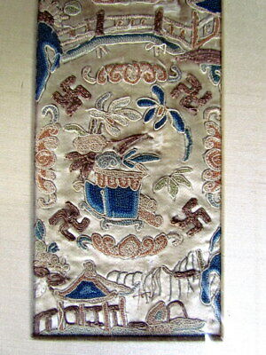 Chinese Or Japanese Antique Embroidery Silk Sleeve In Frame