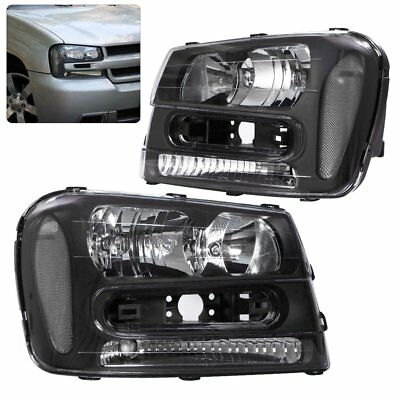 Black Housing Clear Lens Headlights Corners Lamps For 02-09 Trail Blazer