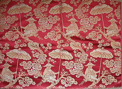 4 pieces of ANTIQUE 19th c FRENCH SILK CHINOISERIE FABRIC Mint, Never Used