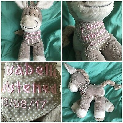 Personalised Embroidered New Baby Donkey Gift Birth, Christening  Boy Girl