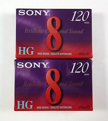 Lot of 2 Sony P6-120HGD High Grade 120 min 8mm Video8 Blank Cassette Tapes