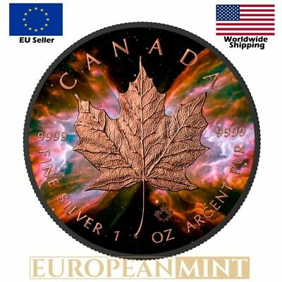 2016 Canada $5 BUTTERFLY NEBULA MAPLE Leaf 1 Oz Silver Ruthenium Rose Coin