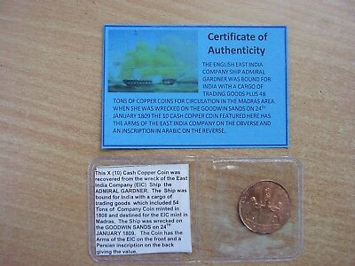 1808 EIC East India Company Shipwreck Coin from  ADMIRAL GARDNER  / Ship Wreck