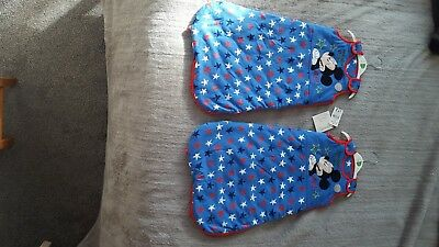 baby boy mickey mouse sleeping bags 2.5 tog x 2, size 0-6 months brand new