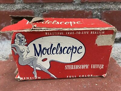WOW! Vintage Modelscope Pinup Slide Viewer Nude Model Kitsch Color 4 Film Slides