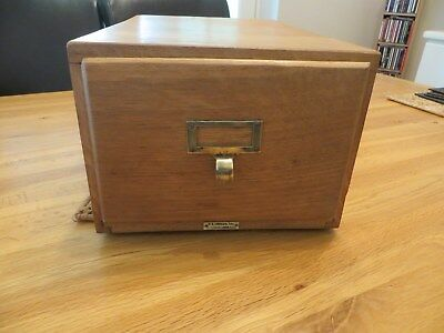 Antique Oak Wood Library File Index Card Cabinet Box Single Drawer Bureau