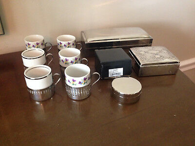 Mixed Lot of 9 Great Silverplated Items/Jewelry Boxes/Trinket Box/Demitasse cups