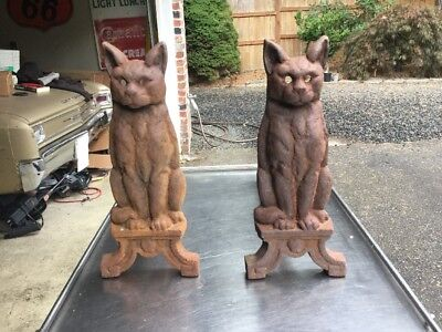 Vintage 1920's Set Cast Iron Cat Fireplace Andirons  Antique Fire Dogs Victorian