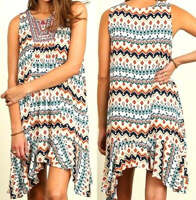 Umgee Dress Size XL S M L Embroidered Beaded Tunic Sleeveless Swing Womens New