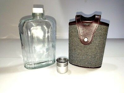 VTG Glass Flask With Wool Snap Cover and Metal Shot Glass