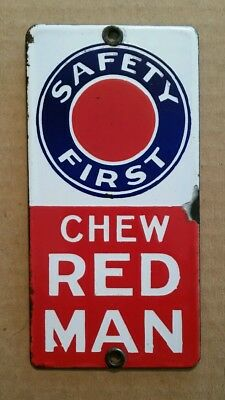 """""""Chew Red Man,Safety First"""" Porcelain Door Push Sign,1910's-20's"""