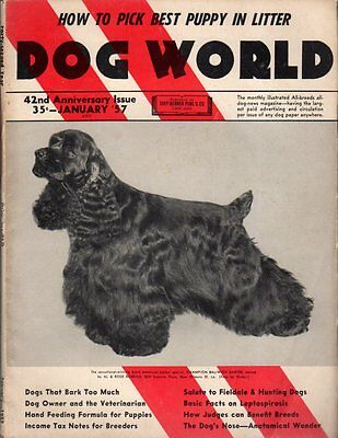Dog World Magazine January 1957, American Cocker Spaniel Cover, History