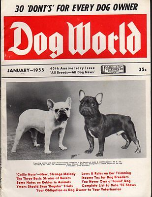 Dog World Magazine January 1955, French Bulldog Cover, 40th Anniversary Issue