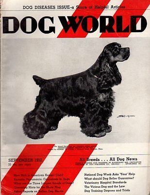 Dog World Magazine September 1952, American Cocker Spaniel Cover, History