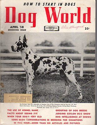 Dog World Magazine April 1958, Great Dane Cover, History