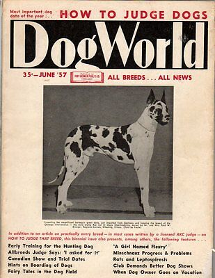 Dog World Magazine June 1957, Great Dane Cover, Special Judging Issue, History