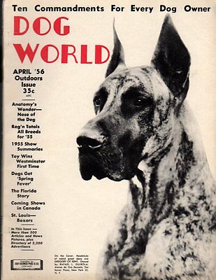 Dog World Magazine April 1956, Great Dane Cover, History