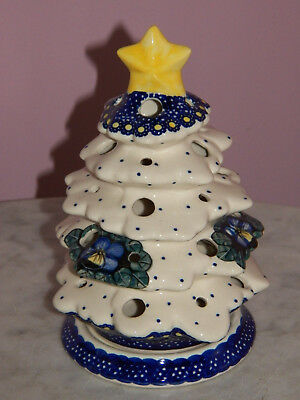 Genuine UNIKAT Polish Pottery Christmas Tree Tea Light! Mila Pattern!