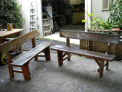 2 X rustic redgum timber patio benchs solid heavy
