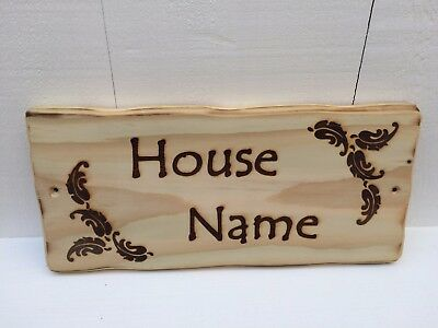 Rustic Driftwood Style Personalised Wooden House Name Number Garden Sign Plaque