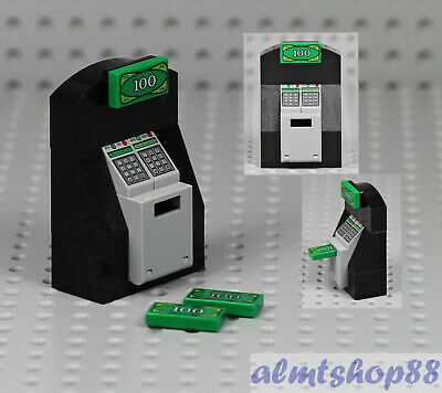 LEGO - ATM Machine - Bank Money Cash Dollar Bill Safe Minifigure Crook Town City