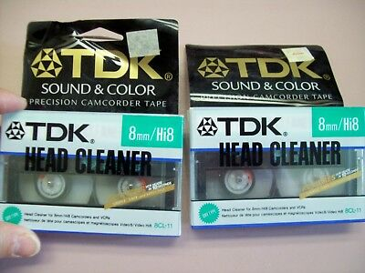 2 TDK Head Cleaners for 8mm/Hi 8 Camcorders and VCRs
