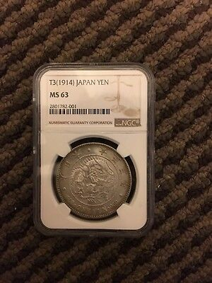 Japan Taisho Year 3 1914 1 Yen Large Silver Coin NGC MS 63