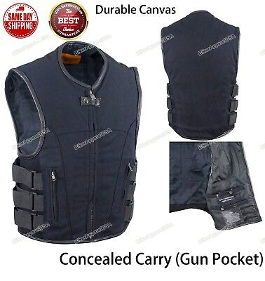 Men's Motorcycle Tactical Swat Style Canvas Vest W/ Concealed Carry Pocket