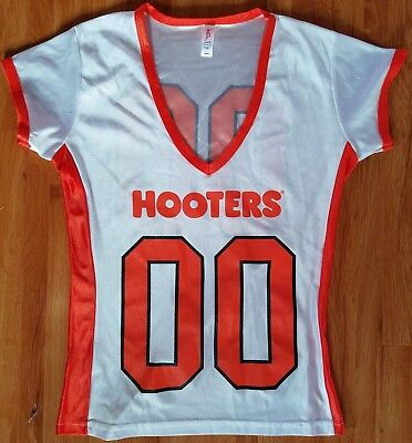 Authentic Hooters Orange Football Jersey Uniform Top Size SM Brand New!