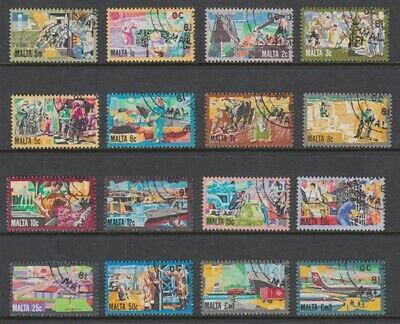 MALTA 1981 HISTORY OF MALTESE INDUSTRY COMPLETE SET (x16) USED (ID:479/D47701)