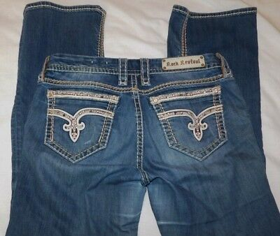 Women's Rock Revival Nancy Easy Boot Crystal Accent Jeans Size 31