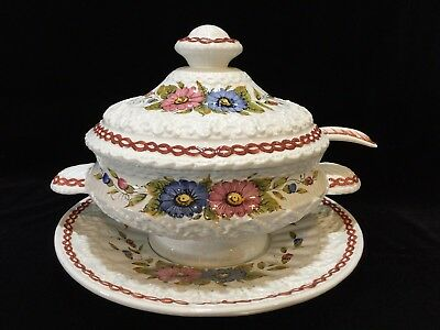Vintage Handpainted Porcelain Italian Soup Tureen with Lid, Ladle & Underplate