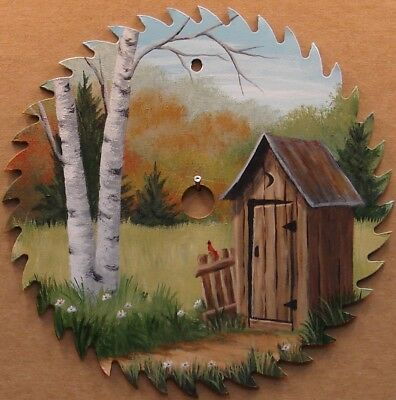 Hand Painted Saw Blade Outhouse Cardinal Lodge Cabin Country Decor 7 1/4""