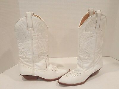 Women's Circles Brand Leather Western Cowboy Boots Sz 10 M White