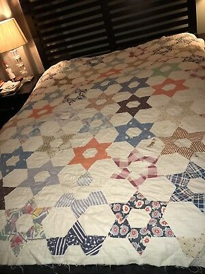 VtG 30's 6 POINT STAR Cutter QuiLT Hand Stitched 10 Spi Feedsack