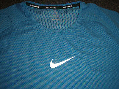 NIKE mens dri fit XL blue running athletic swoosh SHIRT t shirt