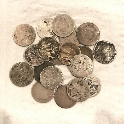 1841-1888 10C Seated Liberty Dimes: Lot Of 19: All Have Dates