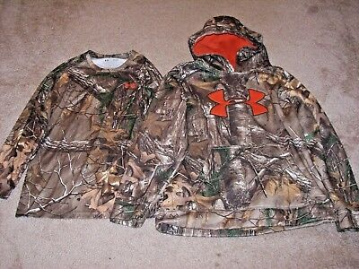 Under Armour Boys Lot Of 2 Camo Hoodie & Long Sleeve Shirt Size Youth L