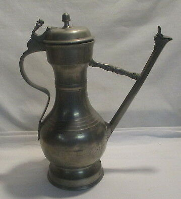 Antique Pewter Flagon With Hallmark  Early Pewter Flagon