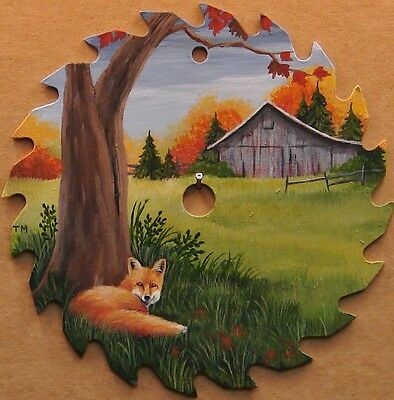 Hand Painted Saw Blade Red Fox and Old Barn Cabin Lodge Country Decor