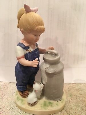 Denim Days MORNING CHORES # 1501 Debbie Homco Girl Milk Can Cat 1985