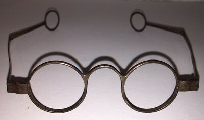 Antique 18th CENTURY Iron Round Spectacle Eye Glasses Double Hinge Ben Franklin