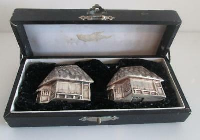 .925 Sterling Silver S&P Salt & Pepper Japanese House Shakers China Export 44.3g