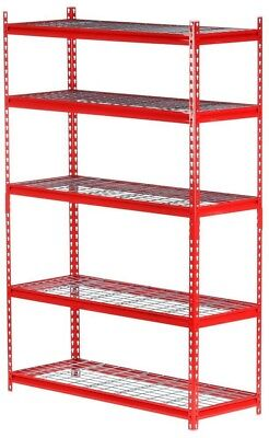 Edsal 72 in. H x 48 in. W x 18 in. D5-Shelf Steel Storage Shelving Unit in Red