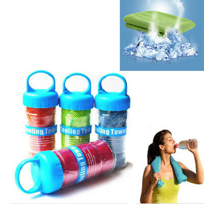 Polyamide Fiber Sporting Cooling Ice Towel Reusable Exercise With Plastic Bottle