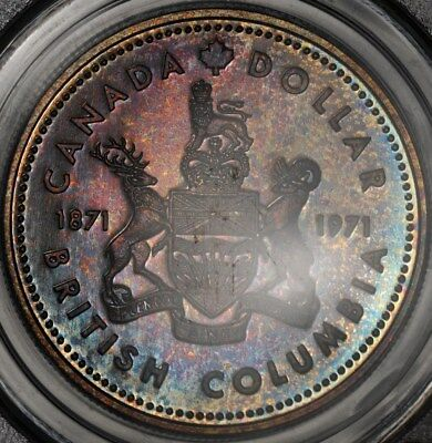 1971 Pcgs Sp69 Canada Silver Dollar S$1 Superb Color Toned